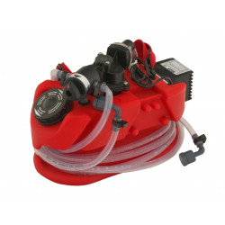 Portable descaling pump, eliminates limestone with acid chemical